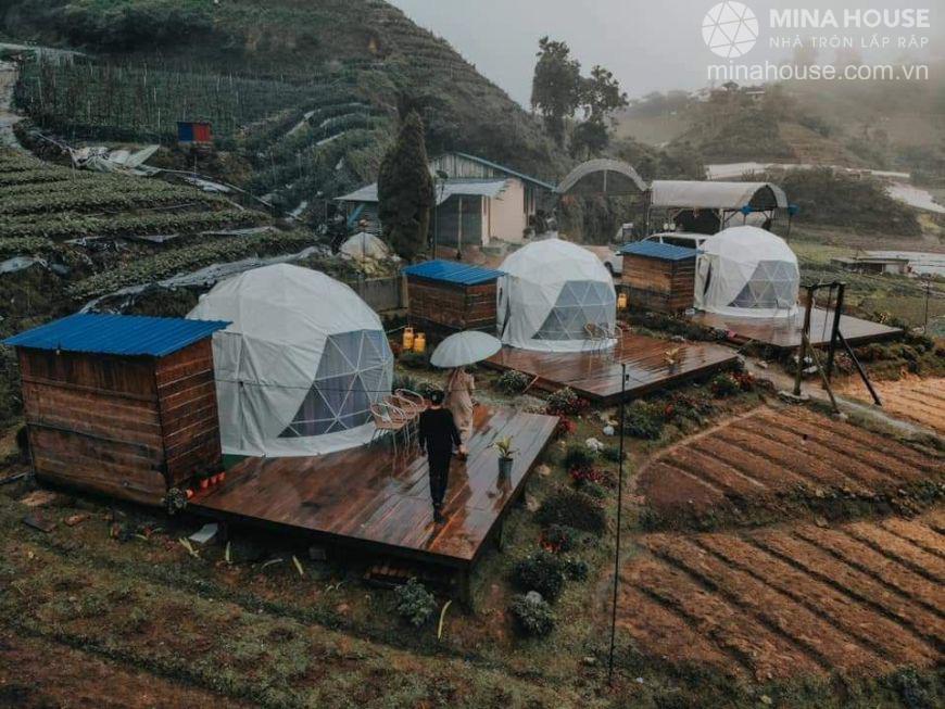 Farmstay du lịch làm bằng nhà tròn lắp ráp